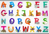 stock photo of letter x  - Cartoon Illustration of Colorful Alphabet Letters Set from A to Z with Funny Animals - JPG