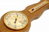 image of barometer  - Barometer and thermometer on a white background - JPG