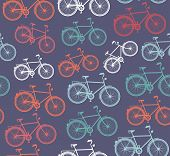 Retro Hipster Bicycle Seamless Pattern.