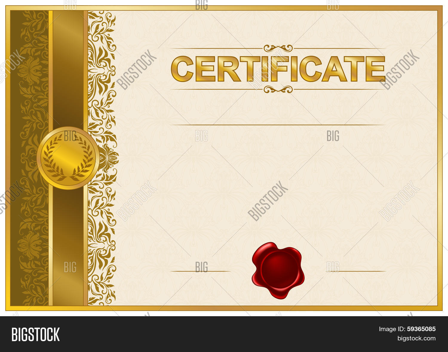 Elegant template certificate vector photo bigstock elegant template of certificate diploma xflitez Image collections