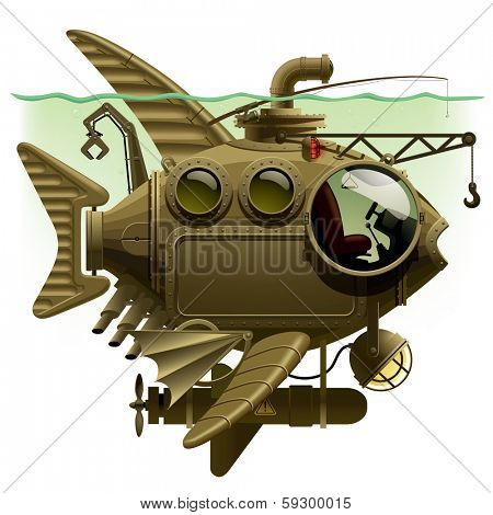 complex fantastic submarine in the form of fish with machinery, equipment and armament