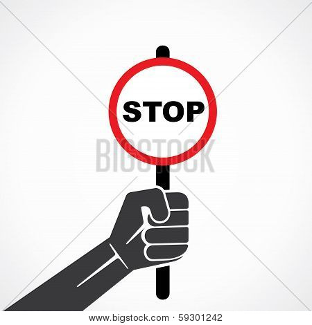 hold stop sign board stock