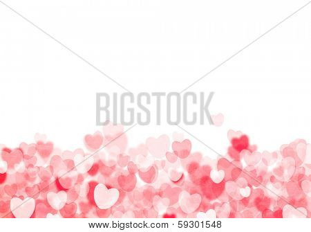Valentine's day red hearts grunge bokeh background with copy space
