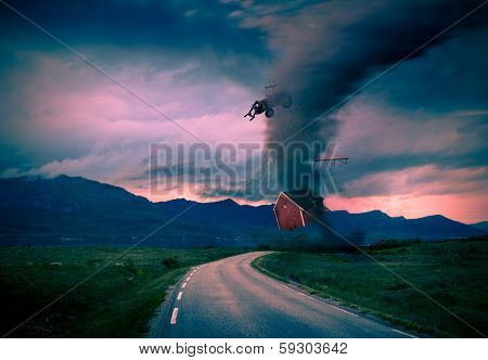 Tornado Next To Road