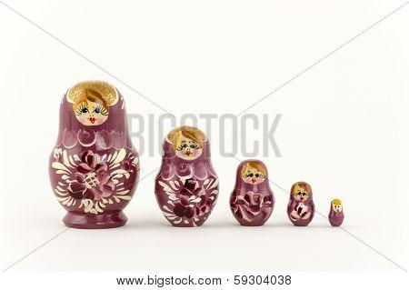 5 Pink Russian Matryoshka Nesting Dolls
