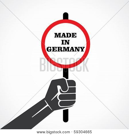 made in germany word banner hold ion hand stock vector