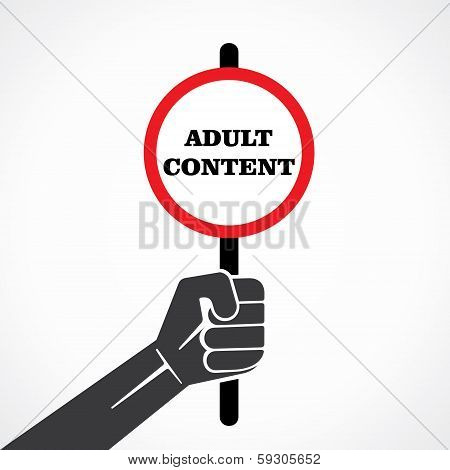 adult content word banner hold in hand stock vector