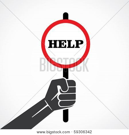 help word banner hold in hand stock vector