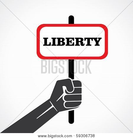liberty word banner hold in hand stock vector