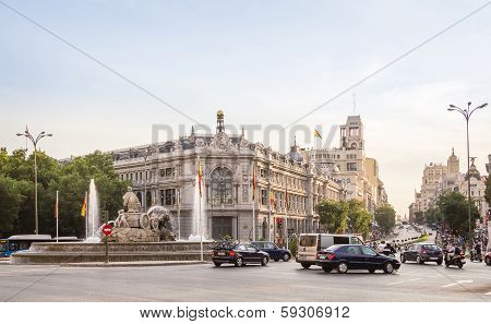 Bank of Spain buiding and Cibeles square in Madrid