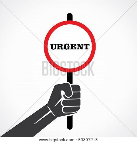 urgent word banner hold in hand stock vector