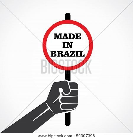made in brazil word banner hold in hand stock vector