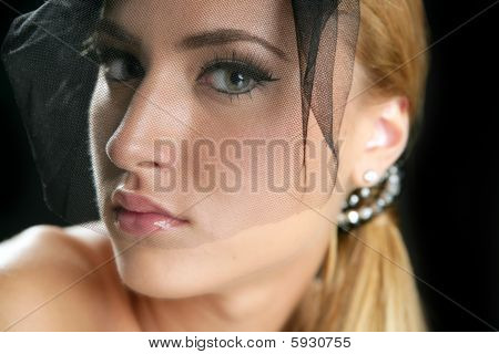 Blond Fashion Woman Tulle Veil Portrait