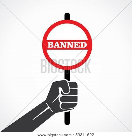 banner word banned held in hand stock vector