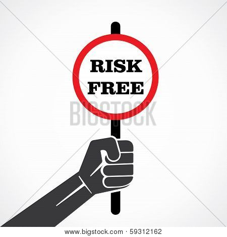 risk free placard held in hand stock vector