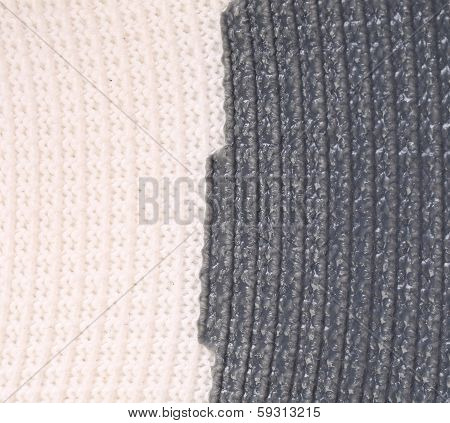 Close up of vertical knitted fabric texture.