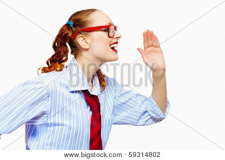 Image of pretty teenager girl in red glasses screaming