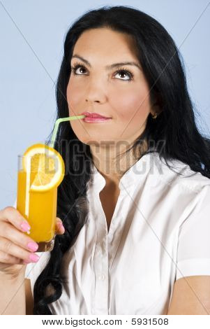 Woman Drinking Orange Juice  And Dream