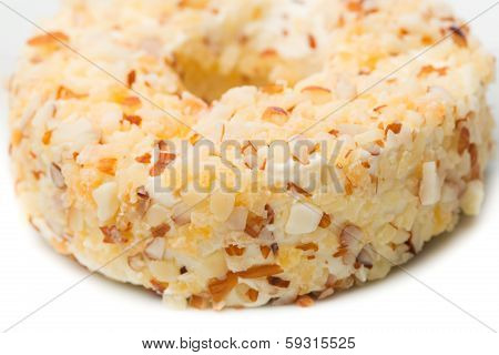Round Sweet Dessert Cheese With Nuts And Pineapple Closeup