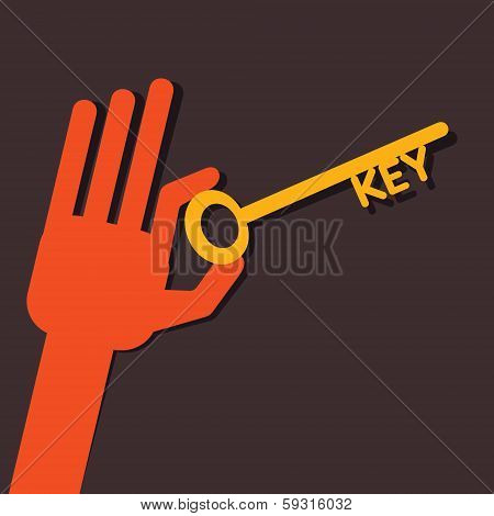 key in hand stock vector