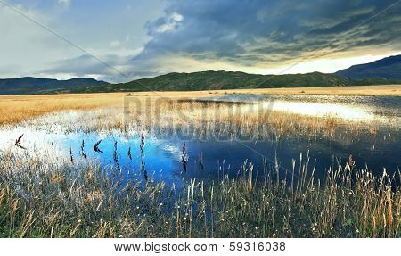 The sky is partially covered with low thunderclouds.  Shallow lake, overgrown with reeds, reflects the blue sky. The valley is surrounded by mountains in the national park Torres del Paine, Chile