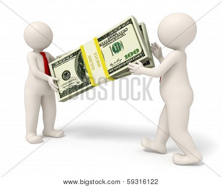 3D Business People Handing Over A Pack Of Money