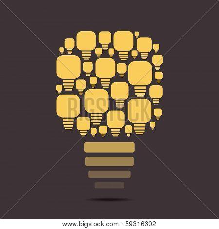 creative retro yellow glow bulb stock vector