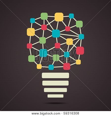 connecting node or dot make colorful bulb stock vector