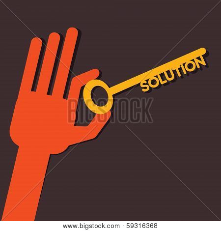 Solution key in hand stock vector