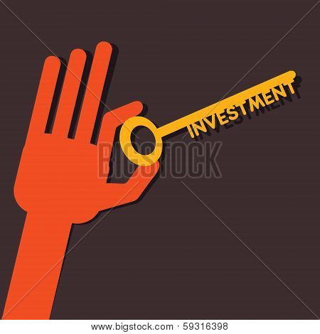 Investment key in hand stock vector