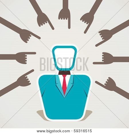 every hand pointed finger on single men stock vector