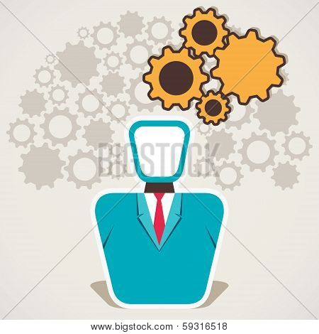 businessmen with gear bubble and gear background vector