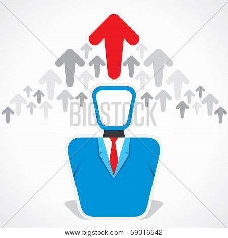 businessmen and moving up arrow background stock vector