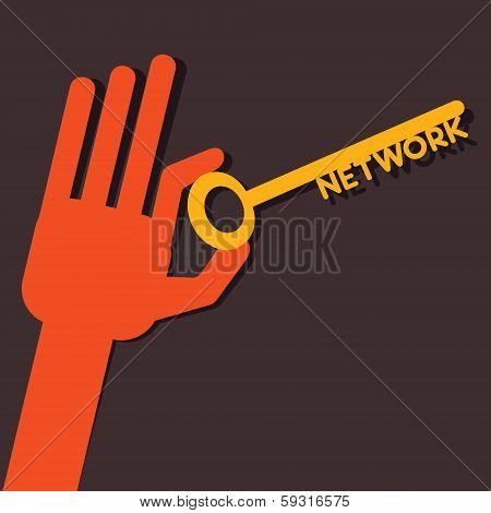 Network key in hand stock vector