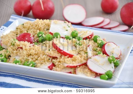 Couscous Salad with peas and red radish