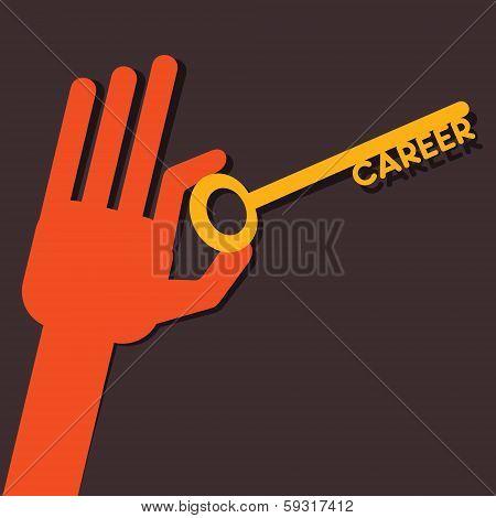 Career key in hand - stock vector