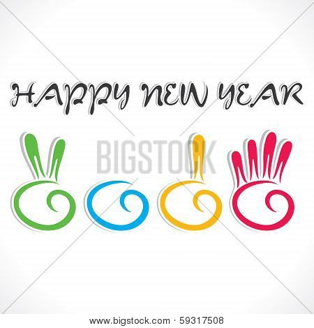 creative counting hand finger 2014 new year stock vector
