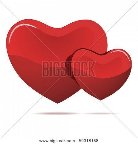 Two red hearts isolated on white illustration.