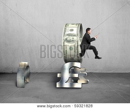 Businessman Holding Tablet Jumping Through Money Circle
