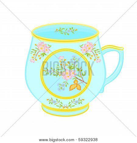Porcelain mug of with floral pattern