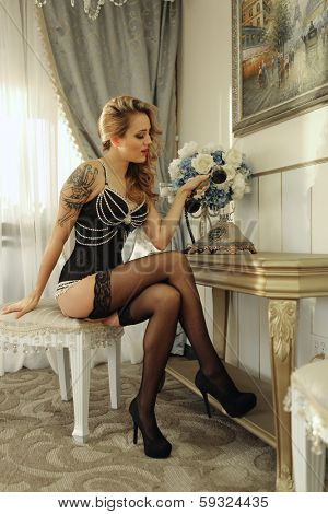 Beautiful Woman in Luxurious Corset Fashion Outfit
