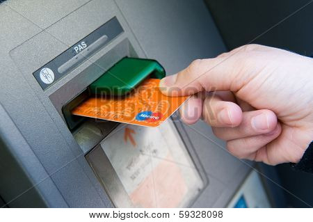 Bank Card Into Atm