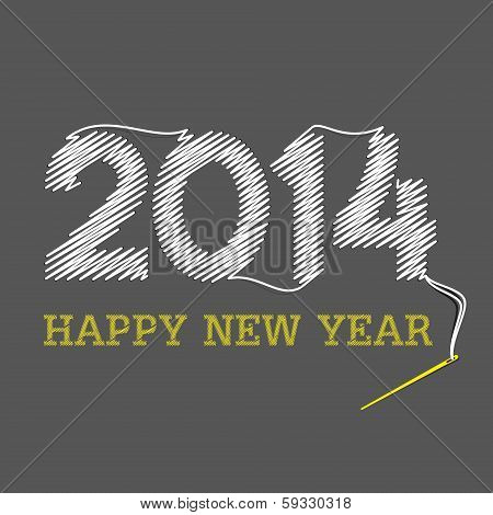 happy new year 2014 design with needle and thread theme concept vector