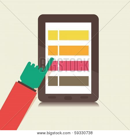 reading online using tablet vector