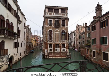 Venice Canals And Houses In Winter Day