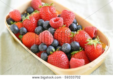 Close up of mixed berries.