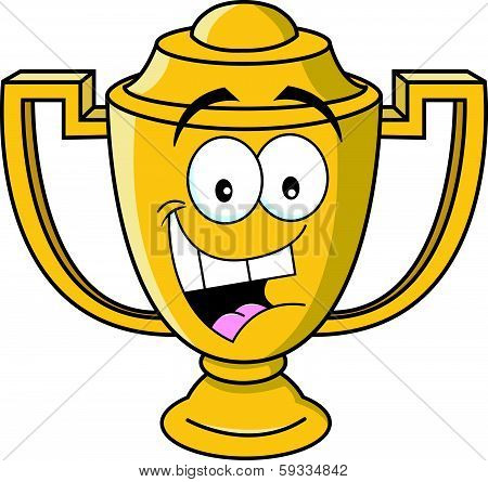 Cartoon smiling trophy cup