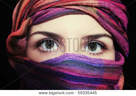 Portrait Of Beautiful Green-eyed Woman In Hijab