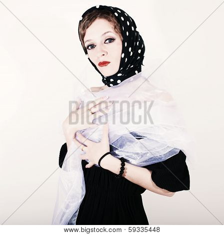 Square Retro Portrait Of A Young Woman In Headscarf