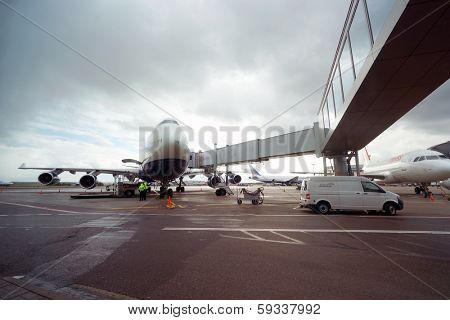 MOSCOW, RUSSIA - SEPTEMBER 26, 2013: British Airways jet aircraft in Domodedovo airport of Moscow on September 26, 2013. British Airways is the flag carrier airline of the United Kingdom